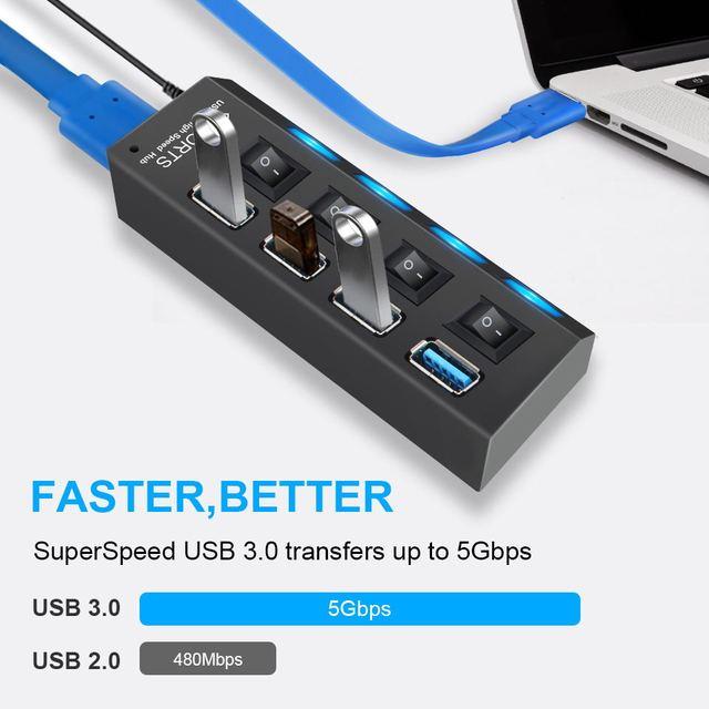 USB 3.0 Hub USB Hub 3.0 Multi USB Splitter 3 Hab Use Power Adapter 4/7 Port Multiple Expander 2.0 USB3 Hub with Switch for PC 2