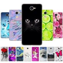 Capa de telefone para huawei y7 2017/y7 prime 2017 macio tpu silicone capa traseira 360 impressão protetora completa coque gato flor