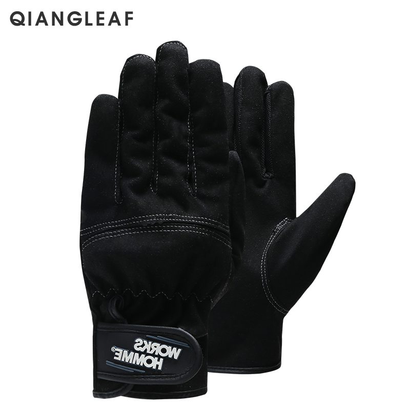 QIANGLEAF Brand Work Gloves Ultrathin Microfiber Ottoman Safety Glove Velcros Wear-resistant  Stitching Safety Mitten 3770