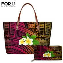 FORUDESIGNS Traditional Tribal Style PU Handbags Hawaiian Plumeria Pattern Tote Shoulder Bags for Women Casual Messenger Bag