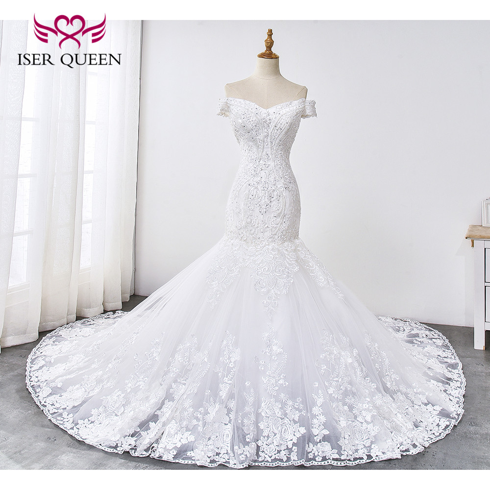 Cap Sleeves Sequined And Beading Delicate Embroidery Mermaid Wedding Dresses Pure White Lace Up Robe De Mariee Wx0033