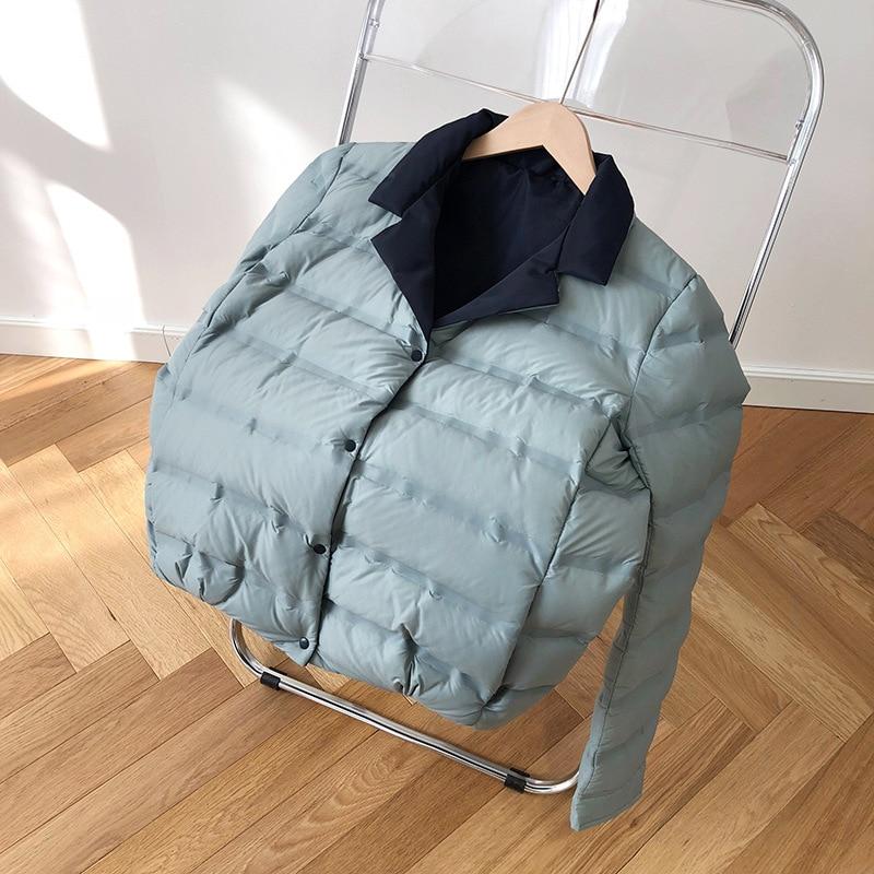 Abrigo de invierno para mujer 2019 abrigo de manga larga con cuello de pato blanco con plumón azul cálido Casaco femenino abrigo de gran tamaño para mujer - 5
