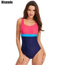 Riseado Swimming Suits for Women 2019 One Piece Swimsuit Sport Swimwear Patchwork U-back Bathing Competition Swim Wear
