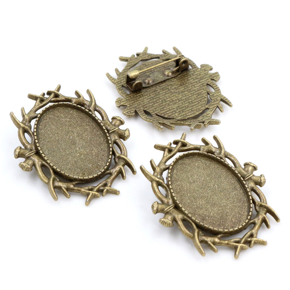 3pcs 18x25mm Inner Size Antique Bronze Brooch Pin Classic Style Cameo Cabochon Base Setting  (C3-55)