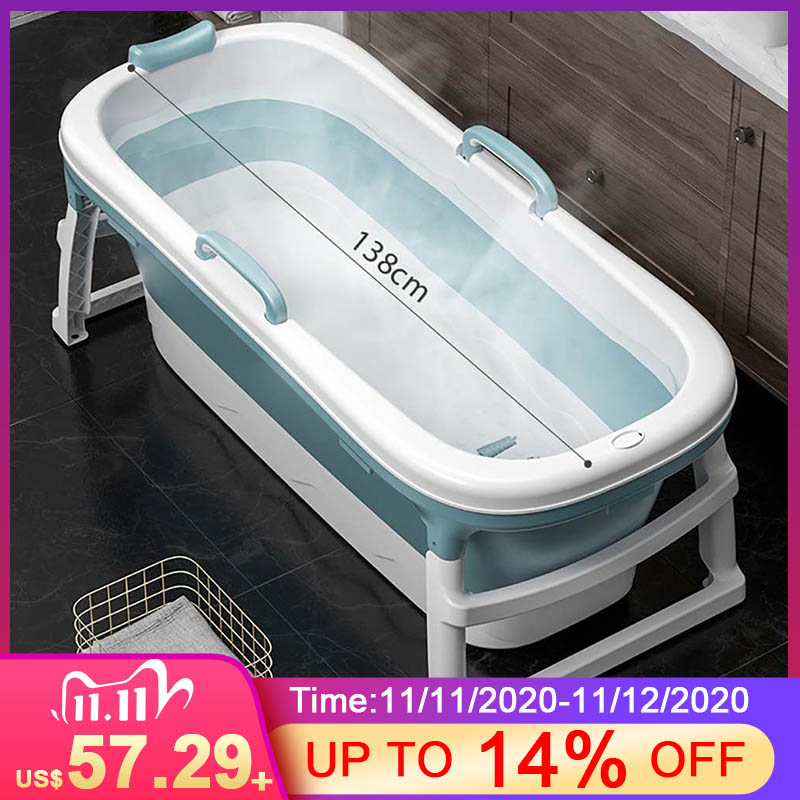 1.15m/1.38m grande banheira adulto crianças banheira dobrável massagem adulto tambor de banho fumegante dupla utilização banheira de bebê casa spa casa sauna