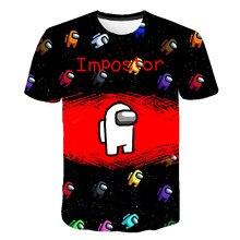 Novo 3d entre nós crianças camiseta imprimir meninas roupas engraçadas meninos traje crianças verão topos quente jogo crianças roupas do bebê tshirts 3-14