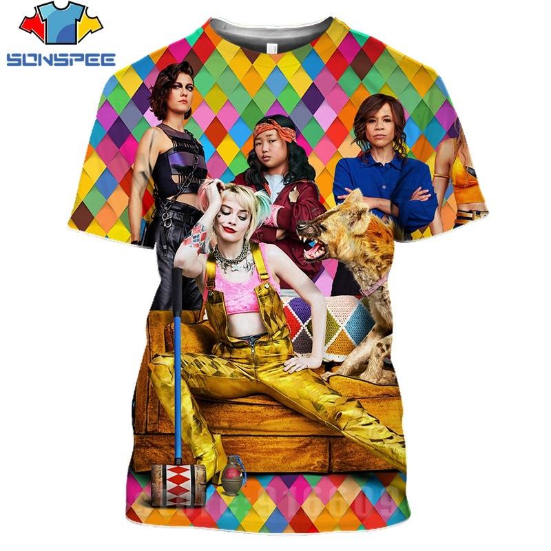 Hot 3D Print Birds Of Prey Shirt Hammer Men's T-shirts Women Superhero Tshirt Streetwear Cosplay Harley Quinn Clown Movie Shirts