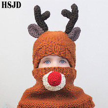 Nette Reizende Elch Kinder Handgemachte Häkeln Deer Beanie Hut Kinder Winter Cartoon Tier Bären Stricken Hüte Mantel Set Junge Mädchen weihnachten Caps(China)