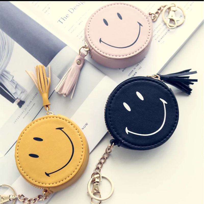 Fashion Mini Leather PU Coin Purse Keychain Women Bag Charm Pendant Keyring Cute Coin Purse Pocket Smile Key Chain Wallet Chain