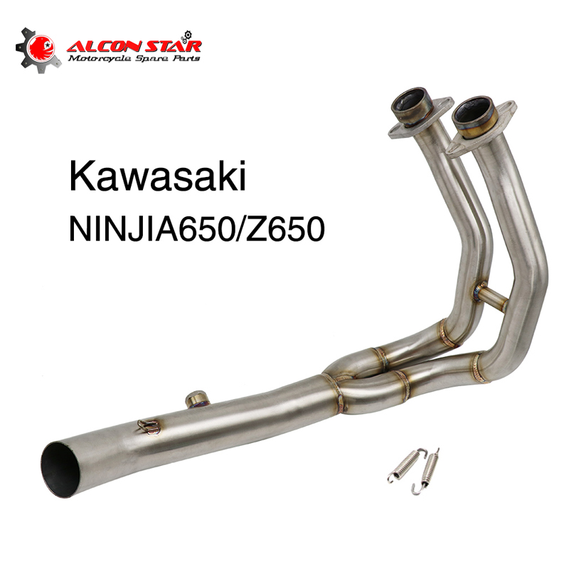 Alconstar Slip on Motorcycle <font><b>Exhaust</b></font> Modified For Kawasaki <font><b>Z650</b></font> Ninja 650 Moto Front Middle Link Pipe image