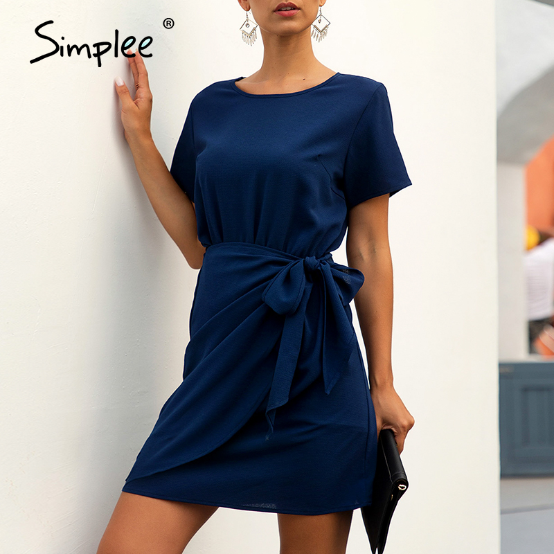 Simplee Elegant Women Office Dress Solild O-neck Short Sleeve Wrap Bow Party Dress Summer Ladies Chic Ruffled Bodycon Mini Dress