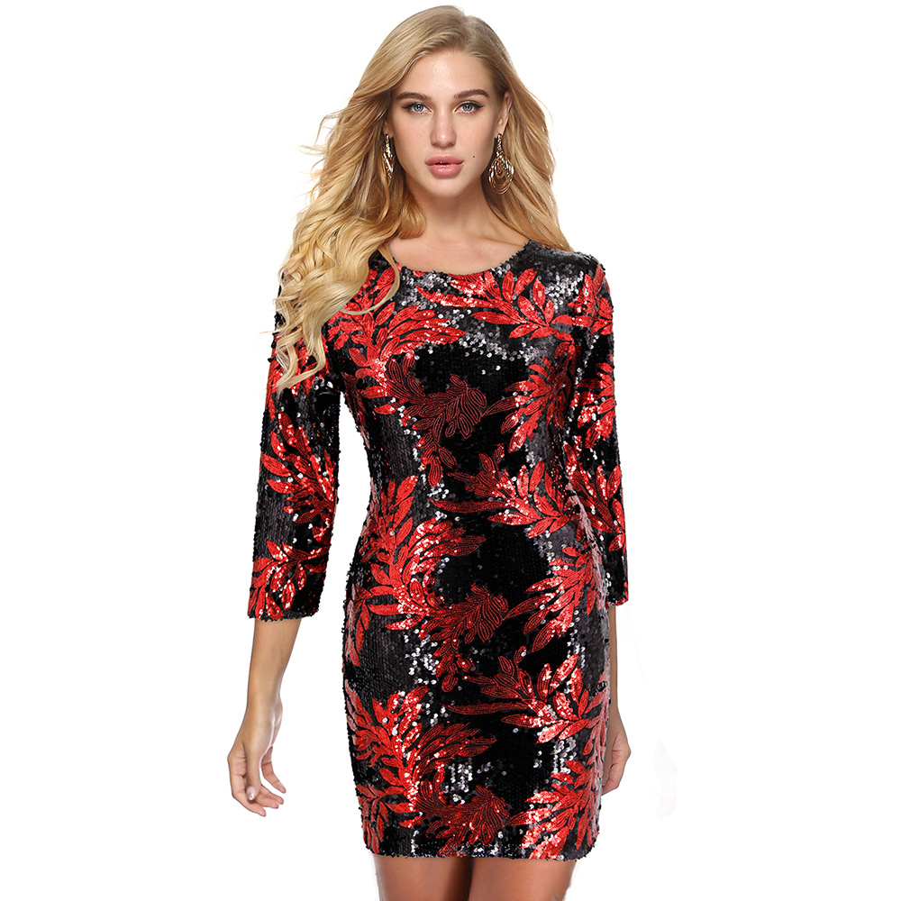 2020 summer sexy women o-neck long sleeve sequined mini dress