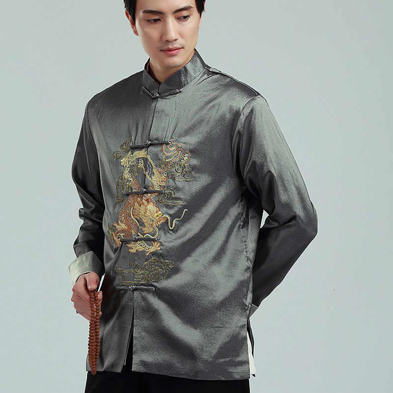 Estilo chinês tradicional dos homens bordado dragão jaqueta hanfu blusa tang terno masculino kung fu camisas roupas tops jaqueta