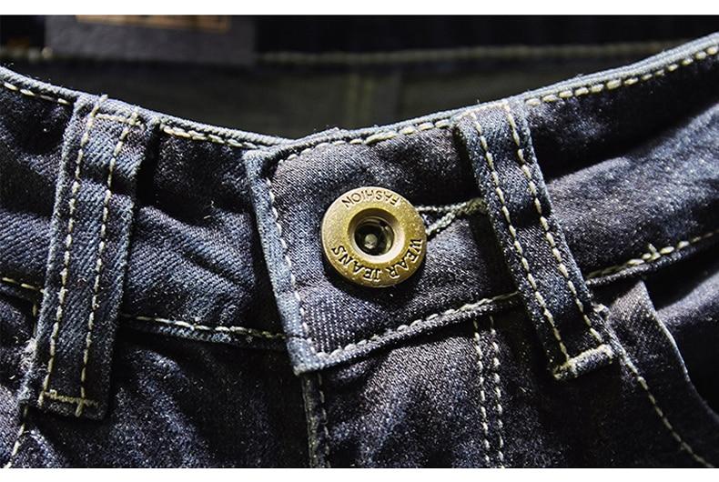 KSTUN Ripped Men Jeans Dark Blue Stretch Slim Fit  Destroyed Broken Holes Denim Pants Casual Biker Jeans Male Hip hop Mens Punk Jeans 13