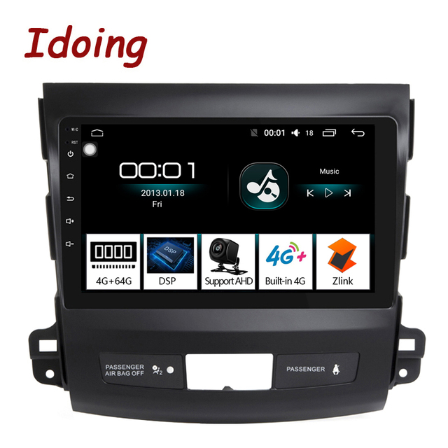 """Idoing 9""""4G+64G 2.5D IPS 8 Core Car auto Android Radio Multimedia Player For Mitsubishi Outlander 2006 2012 DSP GPS Navigation"""