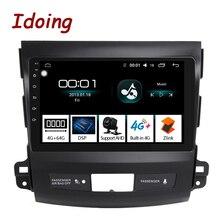 Idoing Radio Multimedia con GPS para coche, Radio con reproductor, de 9 pulgadas 2.5D pantalla IPS, 4 GB + 64 GB, 8 núcleos, Android, para Mitsubishi Outlander 2009 2016