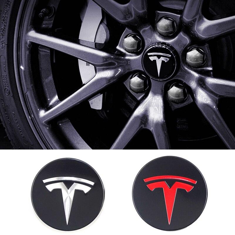 4x 58mm Emblem Fit For Tesla Model X S 3 Wheel Center Caps Hub Cover Logo Badge