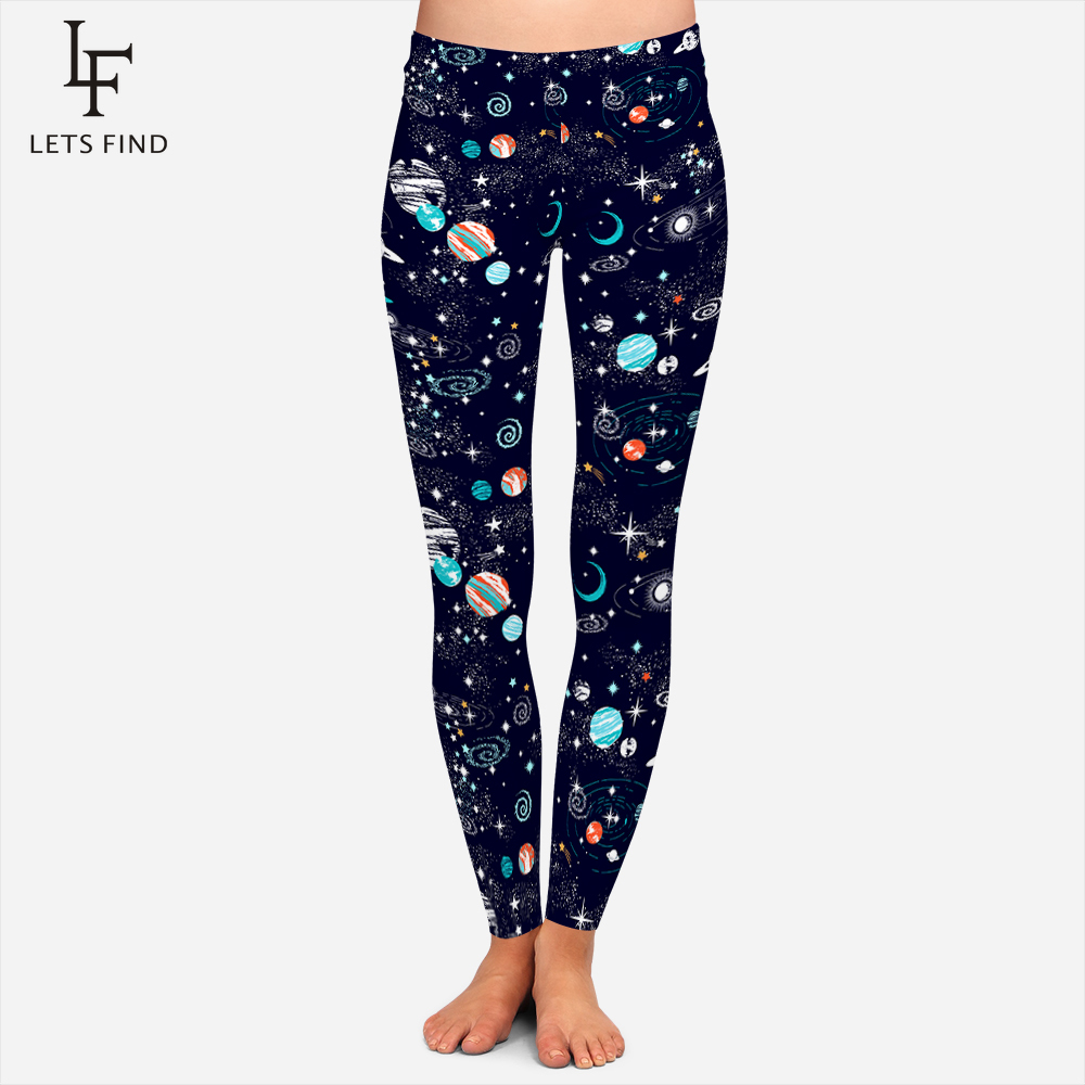 2020 New Arrival Galaxy Leggings Women Plus Size Comfortable High Elastic Leggings Printed Stars Moon Soft Leggins