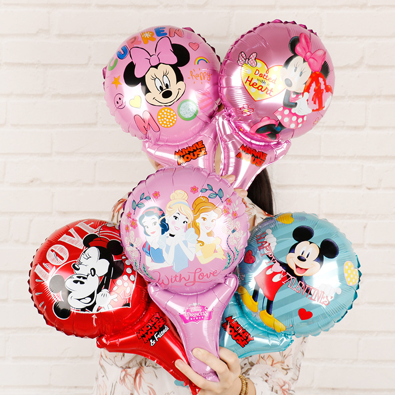 Genuine Mickey Mouse Balloon New Disney Minnie Aluminum Film Balloon Handheld Stick Birthday Party Decorations Venue Layout image