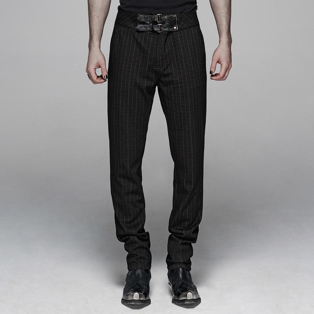 PUNK RAVE Men's Gentleman Style Vertical Trousers  Steampunk Retro Harajuku Formal Waist Belt Pencil Pant Party Fashion Pants