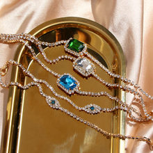 Cender Hot Fashion Square 3 Color Crystal Pendant Necklaces Gold Rhinestone Chain Choker Necklace For Women Bijoux Gift