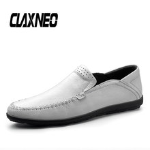 CLAXNEO Man Shoes Genuine Leather Male White Moccasins Breathable Mens Boat Shoe Loafers Soft