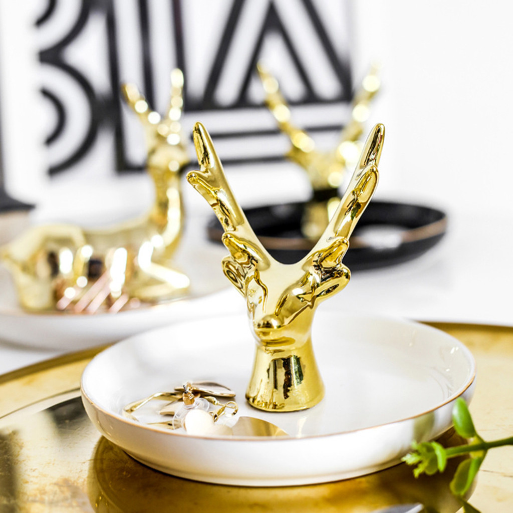 Gold-plated Jewelry Plate Home Decoration Plate Ring Jewelry Storage Plate Desktop Home Decoration Elk Antler Jewelery Dish