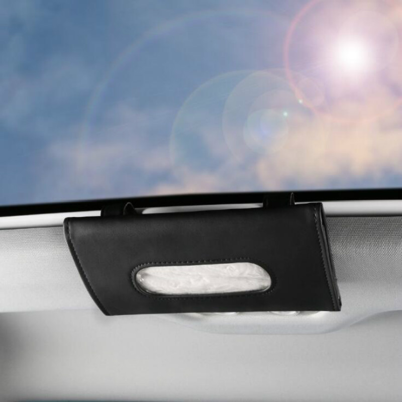 Car Sunshade Paper Towel Bag Multi - Function Leather Car Hanging Seat Car Carton Tissue Box Shade Paper Towel Box