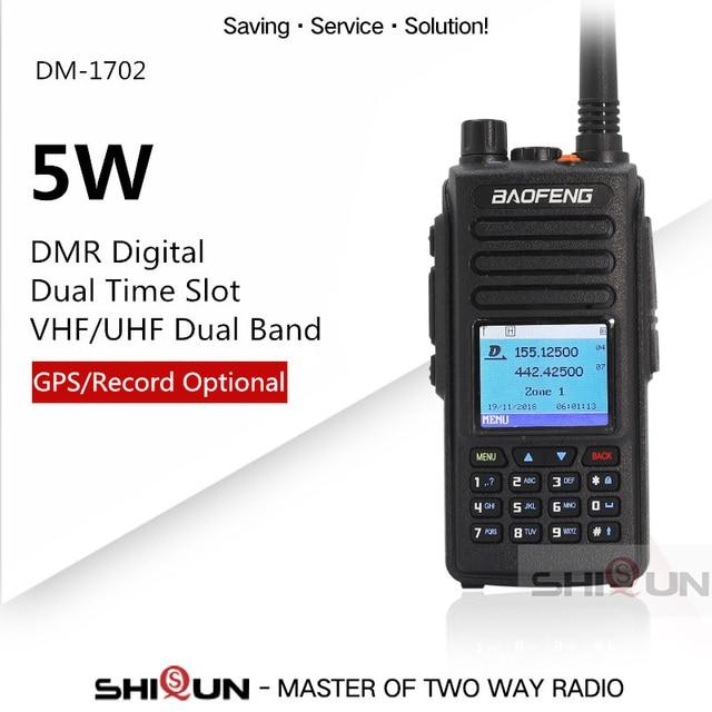 Bộ Đàm Baofeng DMR GPS 2 Băng Tần VHF UHF Khe Thời Gian Cấp 1 Tier2 Nâng Cấp DM 1702 DMR Kỹ Thuật Số Bộ Đàm Với tiếng Nói Ghi GPS