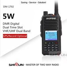 Walkie talkie digital baofeng dmr com gps, banda dupla, vhf e uhf, nível de tempo duplo, 1 tier 2, atualização DM 1702 dmr gps gravação de voz