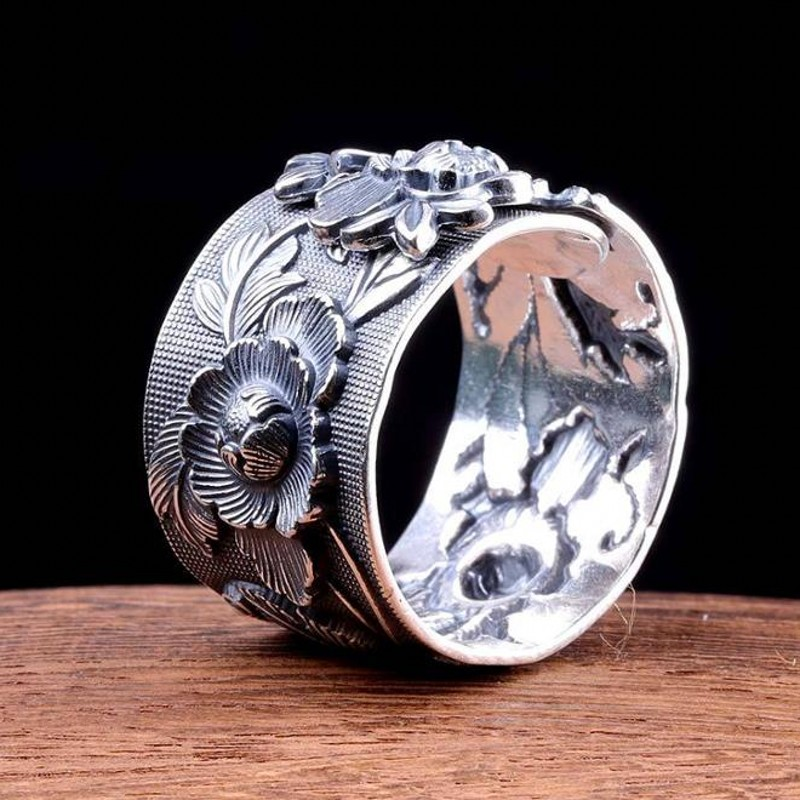 BOCAI 100% Real S990 Pure Silver Ring For Female Peony Flower Embossed Thai Silver Ring Rich And Fashionable Woman Rings