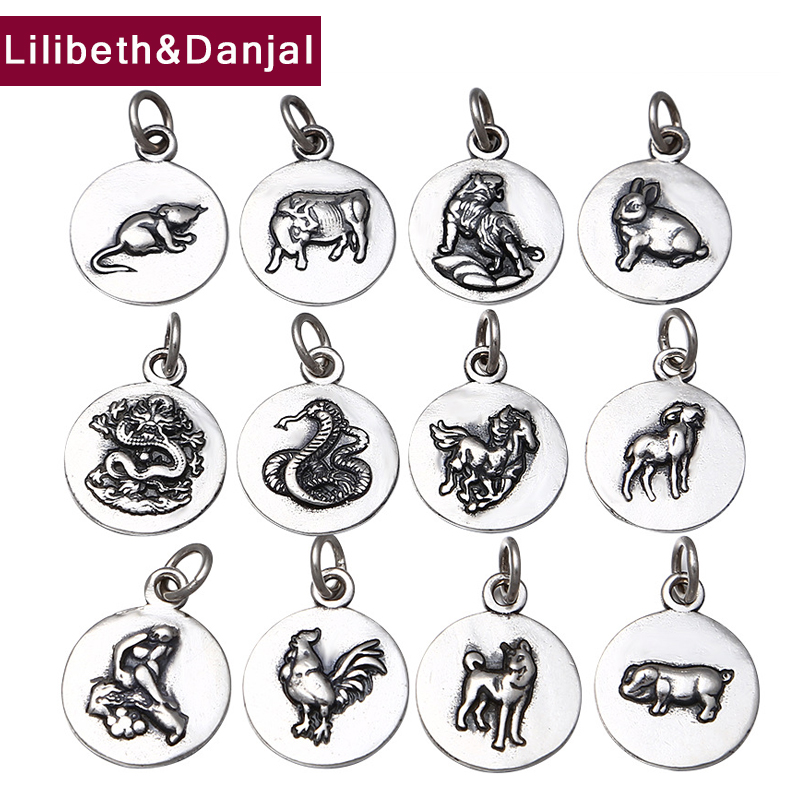 Women Men Pendant 100% Real 925 Sterling Silver Zodiac Signs Animal Necklace Pendant Fine Jewelry Charms Silver 925 Original P28
