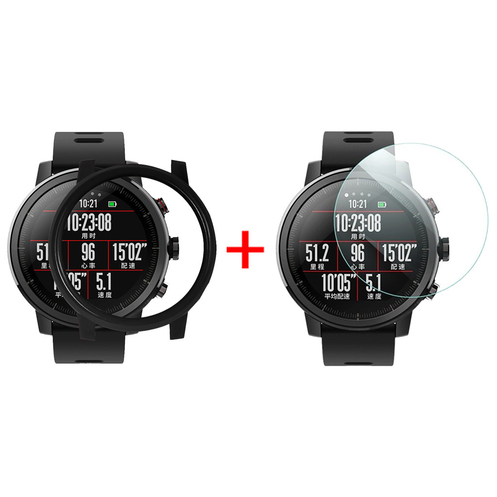MNYCXEN Dial For Xiaomi Huami AMAZFIT 2 Stratos Watch PC Case Cover For Huami AMAZFIT 2S Stratos Watch With Screen Protector