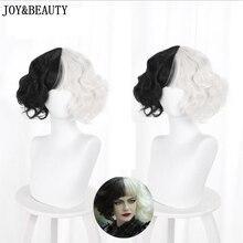 Парик для косплея JOY & BEAUTY из фильма «Cruella de Vil Cruella», короткие черные, белые и черные, коричневые вьющиеся волосы, реквизит для косплея
