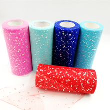 22m Glitter Sequin Tulle Roll 25 Yards 15cm Spool Tutu Wedding Decoration Organza Laser DIY Craft Birthday Party Supplies
