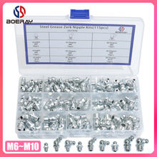 115pcs 90 Degree and 45 Degree and Straight Type M6 M8 M10 Metric Size Hydraulic Zerk Grease Nipple Fitting