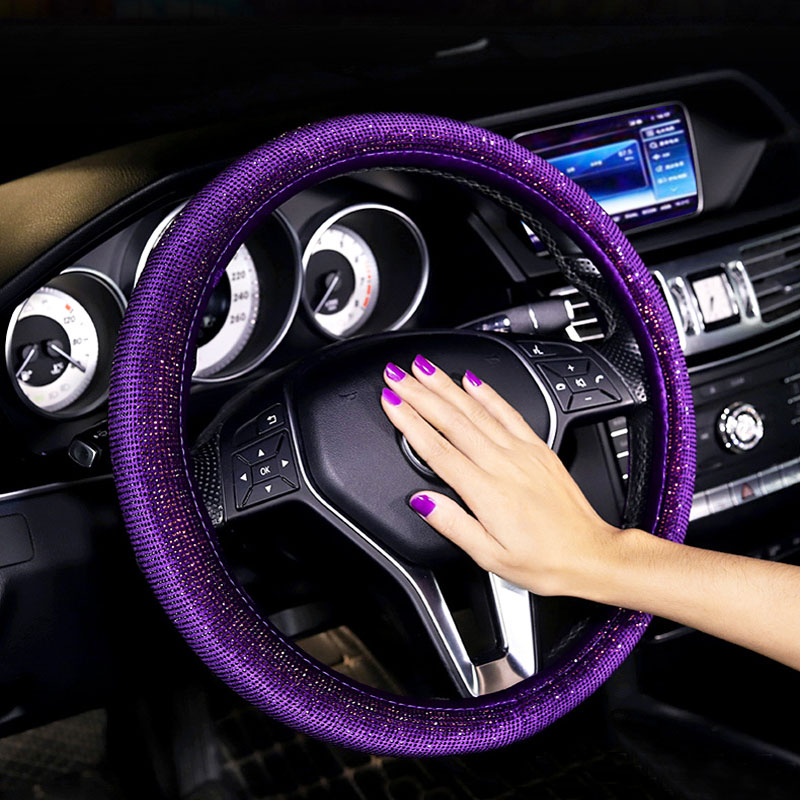 Car Steering Wheel Covers Colorful Crystal Full Diamond with Rhinestone Steering wheel Cover Exquisite Universal Handlebar Cover