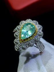 Paraiba Turmalin Ring 1.03ct Reine 18 K Gold Natürliche Paraiba Turmalin Edelsteine Diamanten Weibliche Ringe für Frauen Feine Ring