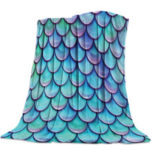 Fish Scales Gradient Blue Green Bedspread Bed Cover Coverlet Blanket Travel Cover Hypoallergenic Anti-Static Deep Sleep Cozy(China)