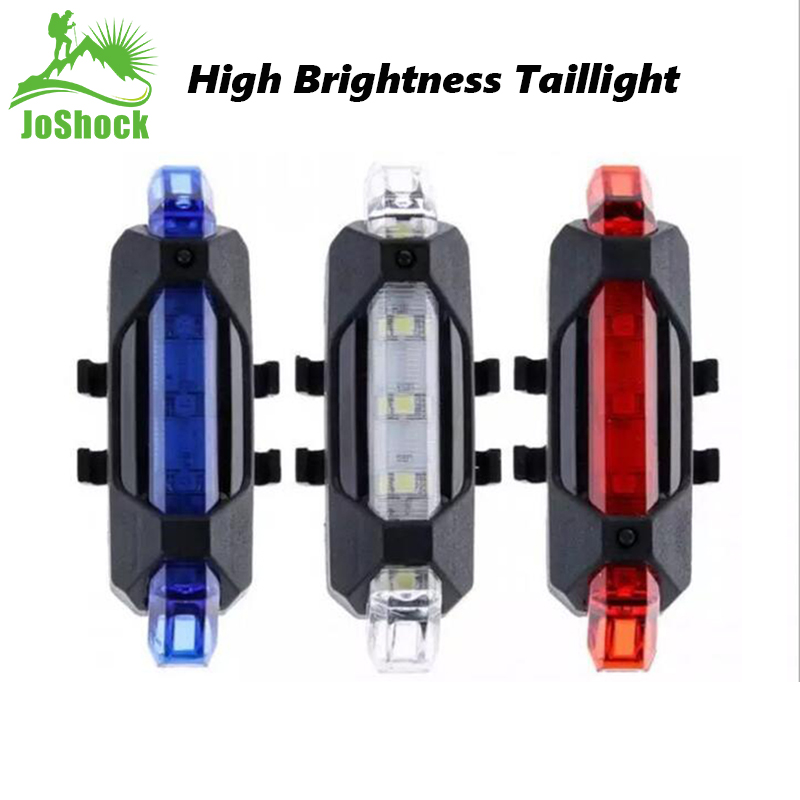 Joshock Bike Bicycle Light LED  USB Style Rechargeable Taillight Rear Tail Safety Warning Cycling Portable Light