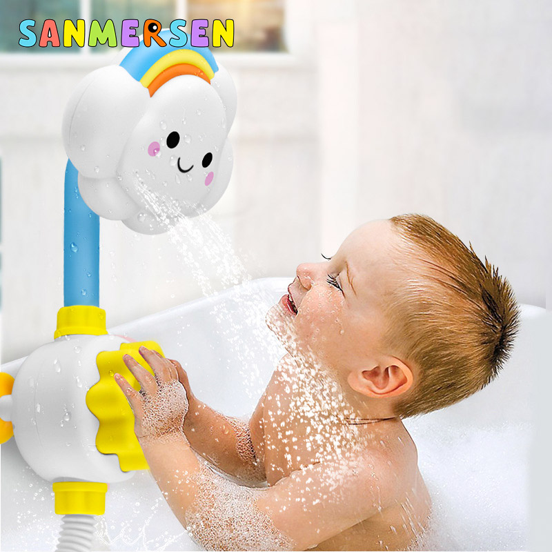 Cute Baby Water Game Bath Toys Cloud Faucet Shower Children's Bath Spout Play Swimming Bathroom Bathing Toys For 1-3 Years Kid image