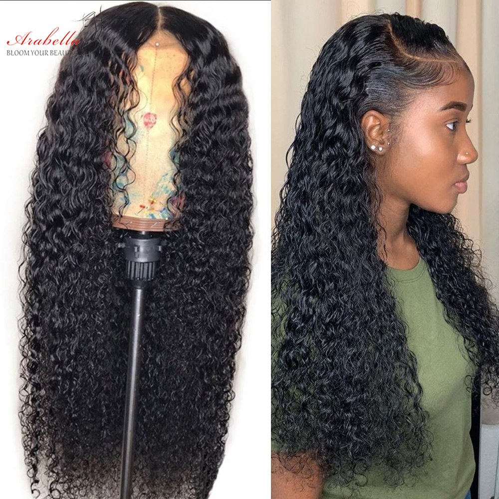 Jerry Curly Wig 100%  Closure Wig With Baby Hair Pre Plucked Arabella  4*4 Closure Wig Curly  Wig 3
