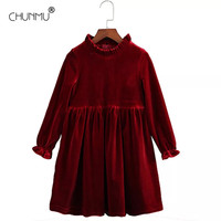 Gold Velvet Teenagers Kids Girls Wedding Dress Elegant Princess Party Formal Long Sleeve Dress Sping Autumn Clothes