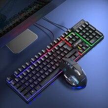 Keyboard Gamer Kit Wired Gaming Mouse Kit Backlight Computer Mechanical Feel Keyboards PC Backlit Game 104 Keys Keycaps Rainbow