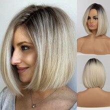 Perucas sintéticas de cabelo curto bob em linha reta perucas sintéticas marrom a luz loira ombre parte lateral para as mulheres cosplay resistente ao calor