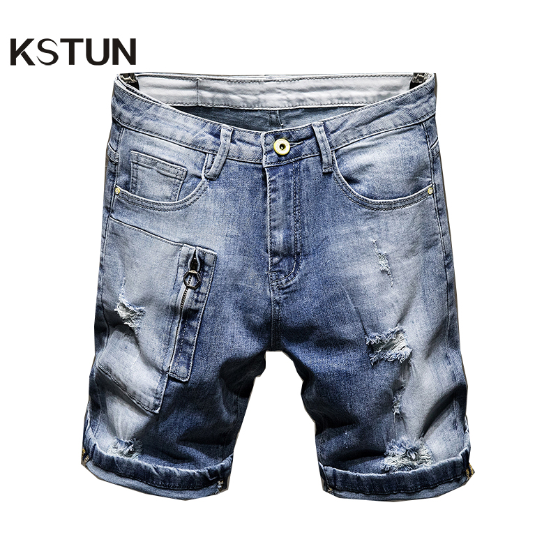 Men Jeans Hot Summer Shorts Straight Elasticity Cotton Ripped Broken Holes Distressed Hip Hop Light Blue Fashion Fake Zippers