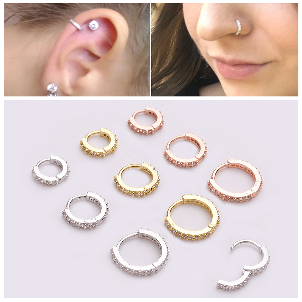 1PC 6/8/10mm New Fashion Helix Cartilage Tragus Daith Conch Snug Huggie Hoop Earring Nose Ring Body Jewelry CZ Ear Piercing