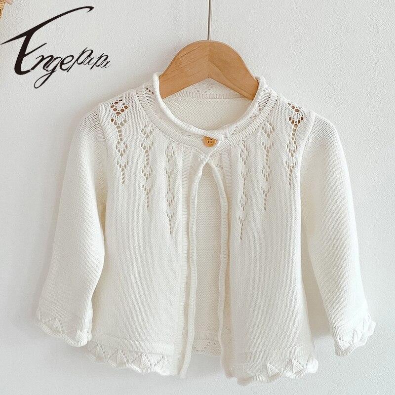 Engepapa Spring Winter Newborn Baby Girl Sweater Knitting Solid Color Shawl Cardigan Coat Long Sleeve Toddler Girls Cardigan