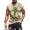 Футболка мужская оверсайз с принтом якоря, Повседневная модная рубашка с коротким рукавом, уличная одежда с круглым вырезом, свободная футб...