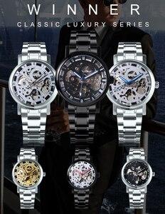 Image 5 - GEWINNER Offizielle Casual Uhren Männer Skeleton Mechanische Uhr Stahl Bügel Römischen Anzahl Business Top Marke Luxus Männer der Armbanduhr